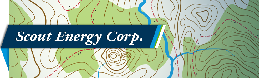 Header image of a stylized topography map with Scout Energy Corp. logotype